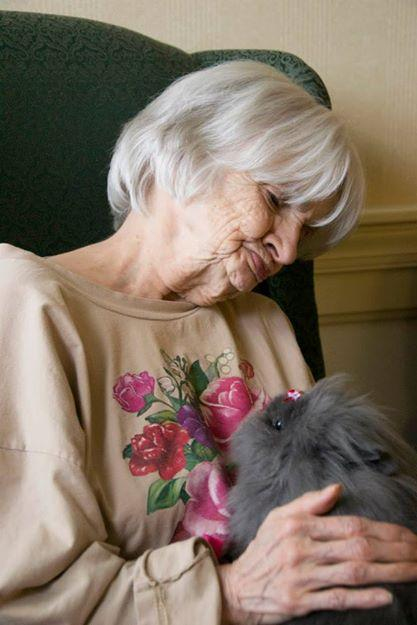 Therapy bunny Sara with friend at Park Vista nursing home.