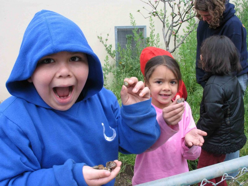 Finding Snails in the John Muir School Garden