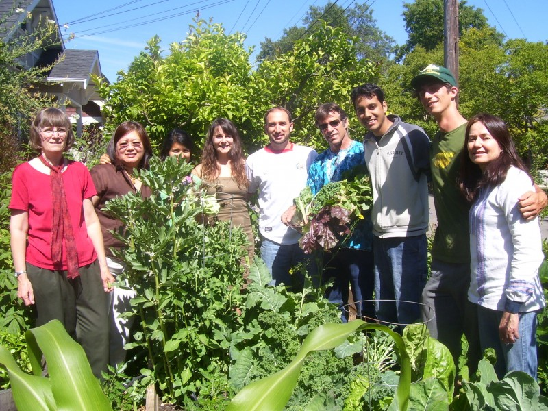 Food First staff and interns in Food First's garden