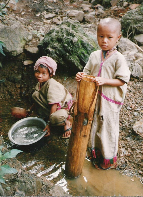 Hill-Tribe Girls Getting Water