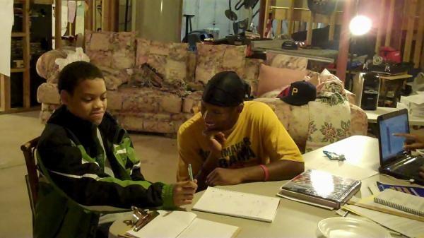 Student Mentor Jaymes with Mentee Kewanis