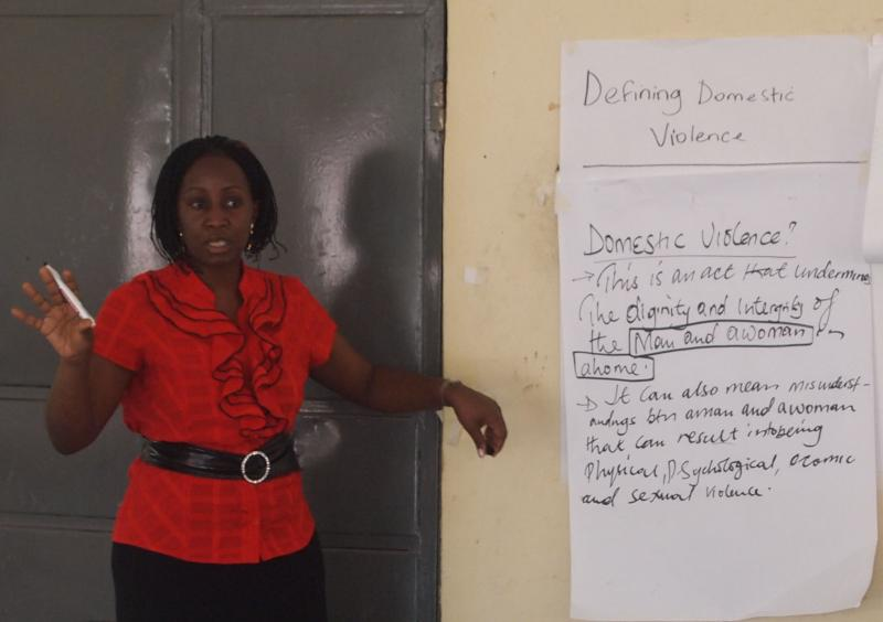 Global Rights trainer talking about domestic violence