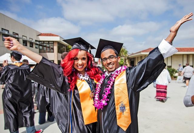 Two students excited about graduation.