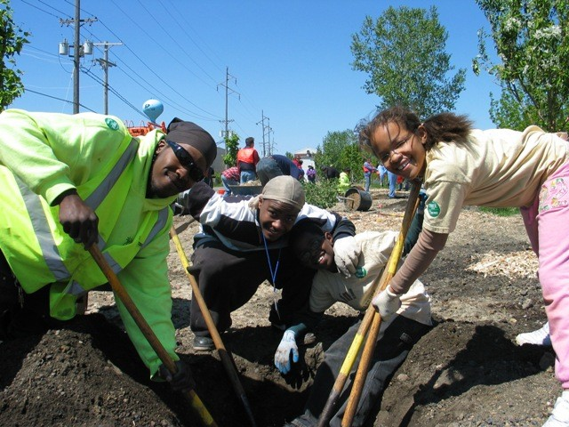 Staff and Volunteers plant Green Futures trees