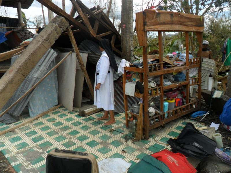 A nun's family house damaged by typhoon Yolanda