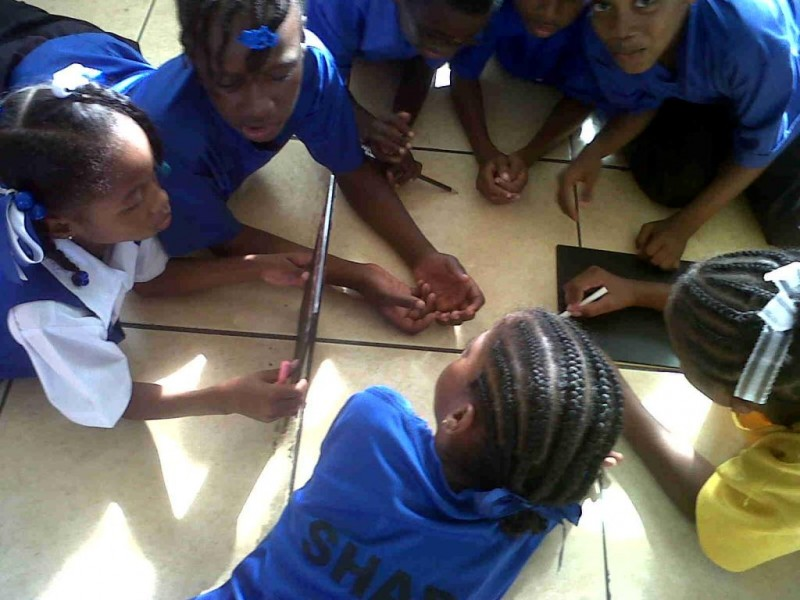 Everyone is recruited to help get the word out, including these school children in St. Lucia!