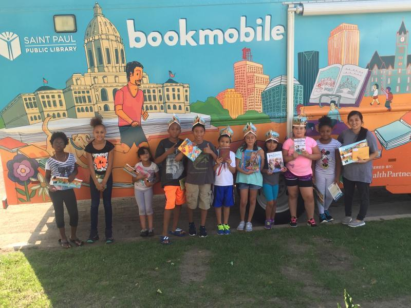 Partnership with the St. Paul Libraries Bookmobile allows resident youth to access literacy materials year round.
