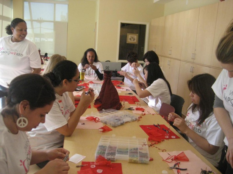 Prep session for our jewelry making workshop w/ DWC