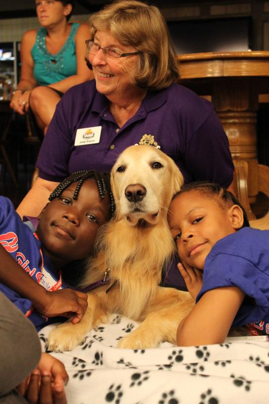 Nothing better than snuggling up to a therapy dog!