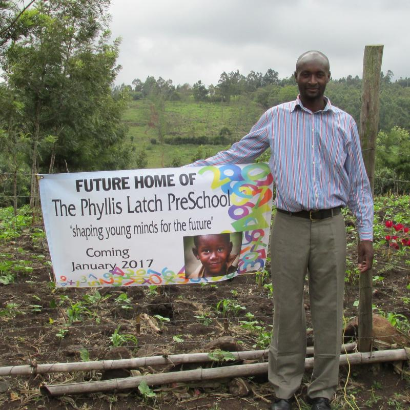 Land donor Moses Njorge, Kibiko Kenya where The Phyllis Latch Pre-School will be constructed 2017!