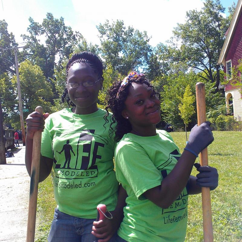 Volunteers from Young Detroit Builders worked with Life Remodeled on a neighborhood beautification project in Detroit.