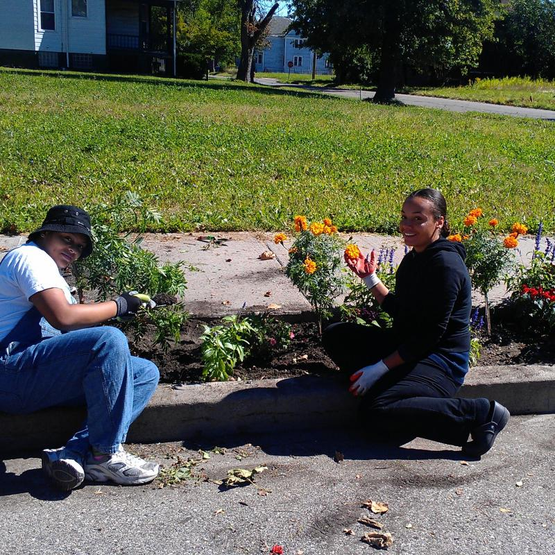 Volunteers from Young Detroit Builders gardening with the Michigan Urban Farming Initiative