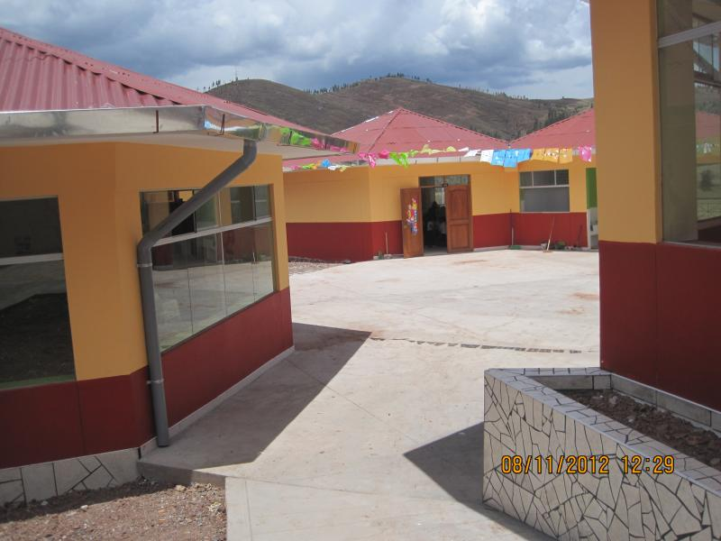 Kindergarten patio and round class rooms