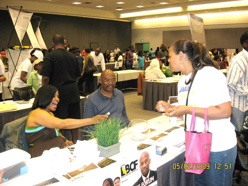 ASAP's Sonya Marchand handing out hand sanitizer at the KJLH 102.3 9TH Annual Women's Health Fair.