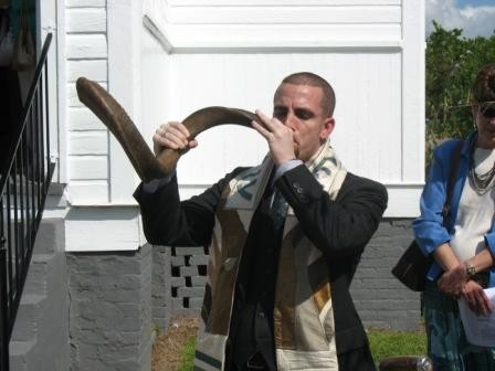 Rabbi Marshal Klaven blowing the shofar at B'nai Shalom in Brookhaven, MS