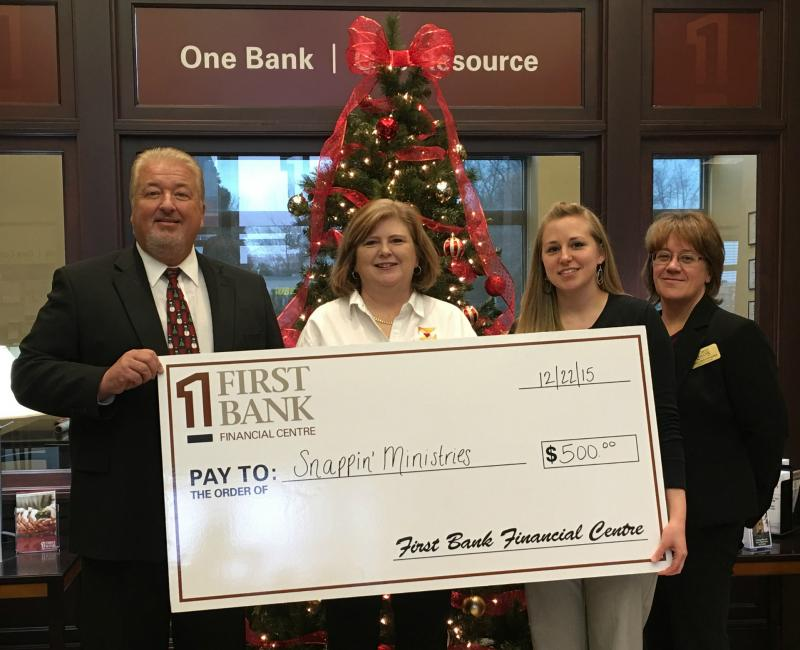 First Bank Financial Centre West Brookfield branch awards us with a $500 during their Holidays of Giving Program