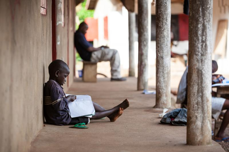 A child learning in one of the EduCaid schools run by Honoree Mirian Mason-Sesay
