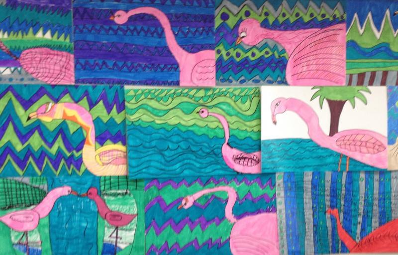 Wall of Flamingos.