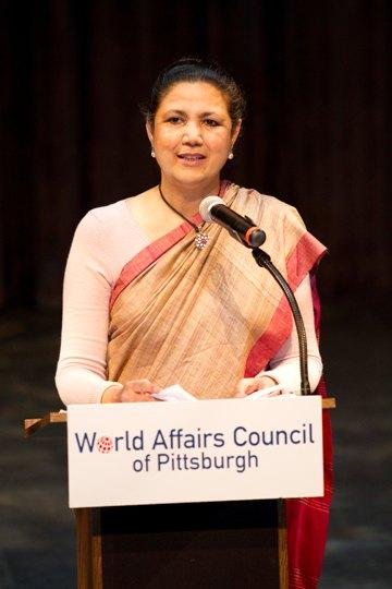 Former Indian Ambassador to the U.S., Meera Shankar, addresses World Affairs Council members.