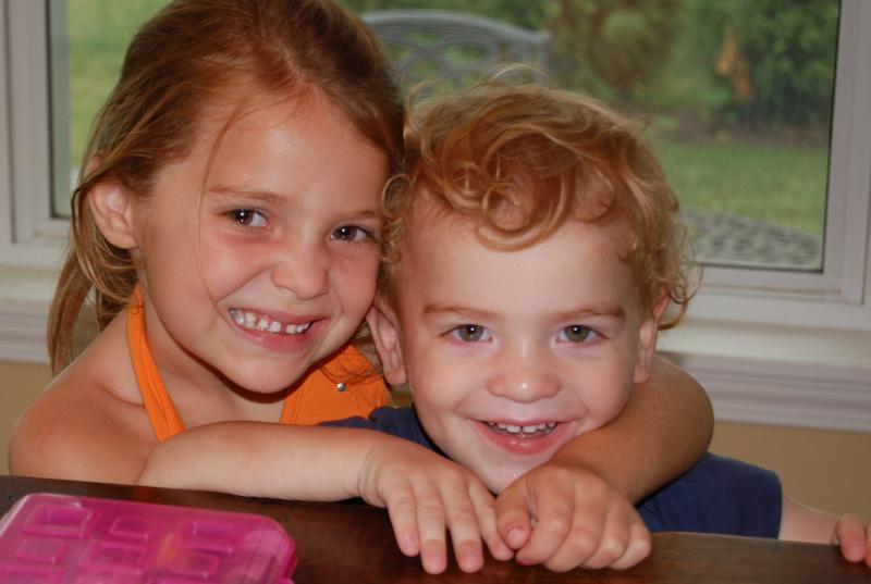 Tommy, age 2, with his sister Isabella, age 5.  Tommy has Fragile X Syndrome.
