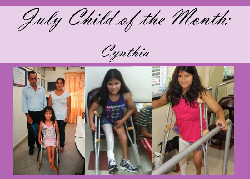 Cynthia was our Child of the Month for July!