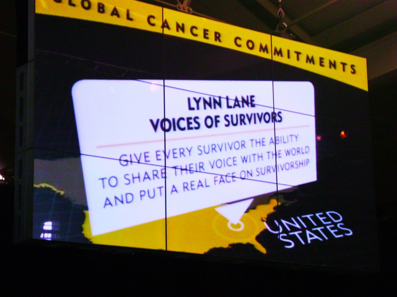 Photo on the Jumbotron® at the Livestrong Global Cancer Summit in Dublin, Ireland