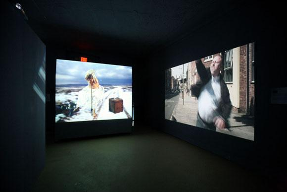 Time and Place Exhibition, Installation view of Joan Jonas and Cristina Lucas