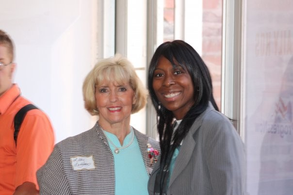 Lilly Ledbetter with AFJ staff at event