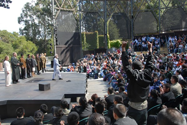 Oakland Military Institute students at a 2007 Student Discovery Matinee of KING LEAR; by Jay Yamada.