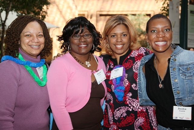 Friends meet at the Annual Conference for Young Women Affected by Breast Cancer.