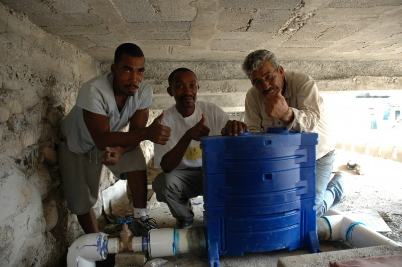 This large chlorinator in Jalousie serves clean water to 50,000!