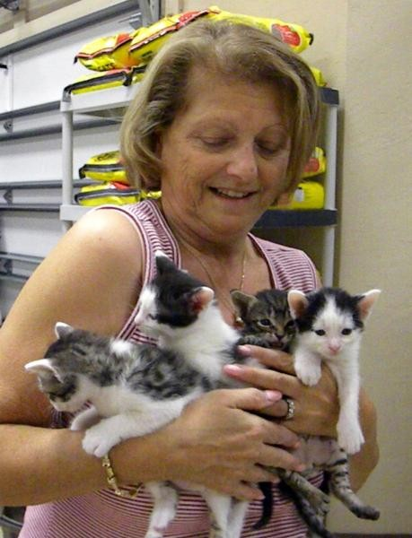 Linda, our shelter manager, with an armful of rescued kittens