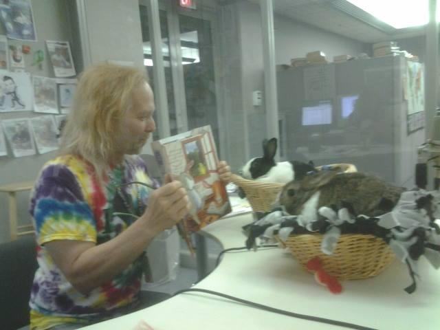 Louie Free (radio personality) reading to Cricket & Natalie Bunbun as part of the SomeBunny to Read To program.
