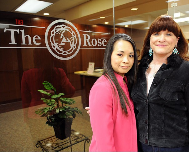 The Rose Patient Navigator Lynn Tran (left) with patient Christine.