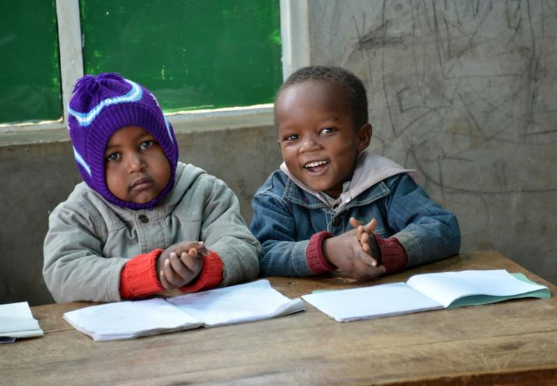 Preschoolers at Mahiga Primary School (Kenya) get an early start on their education.