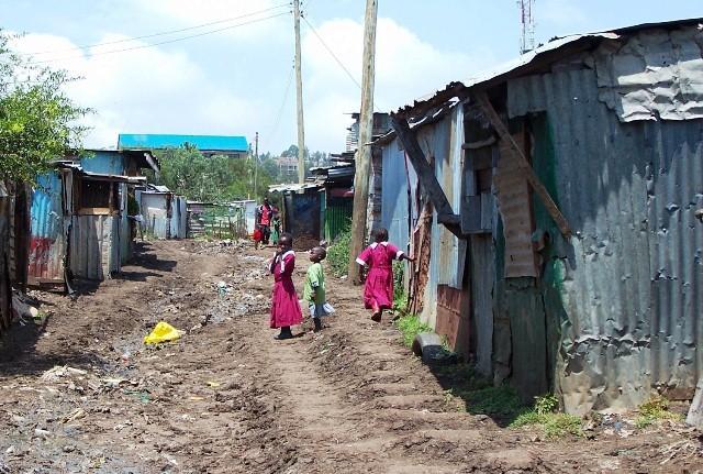 Entering Mathare slum area