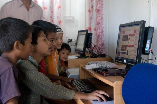 Users at the Sukrabaare Postal Center in Nepal