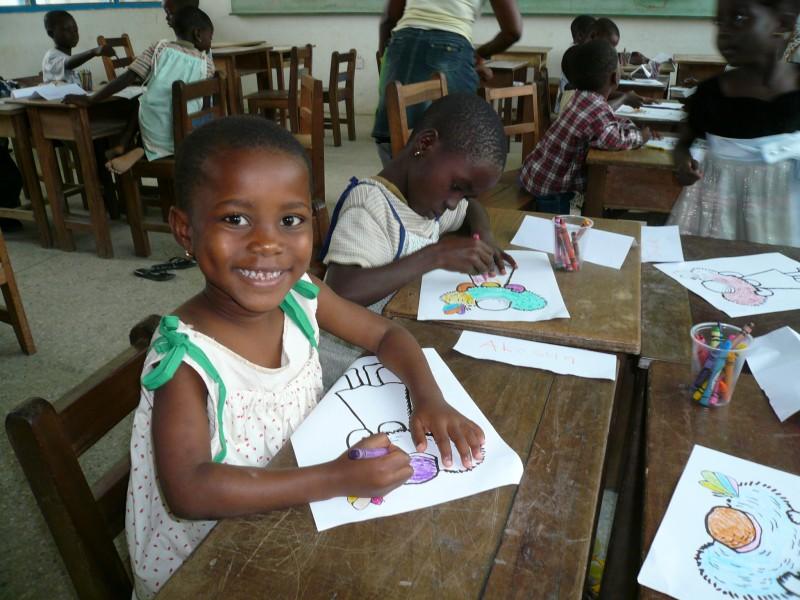 Salamatu - Age 7 in drawing class