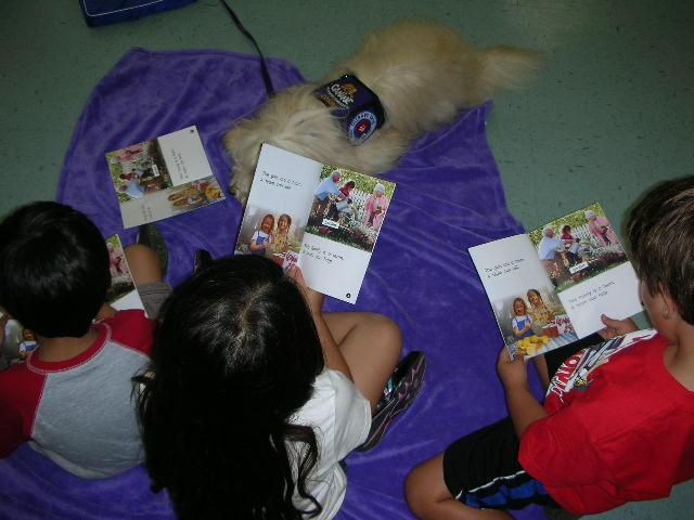 Reading to a dog provides great motivation for children