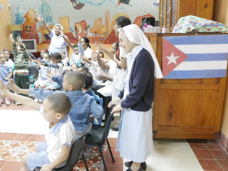 Kids in Cuba (Catholic School) learning SFK