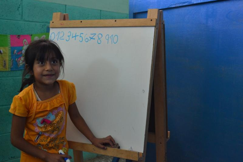 Paula, 6, from El Sargento has mastered numbers thanks to our Teachers Helping Teachers program