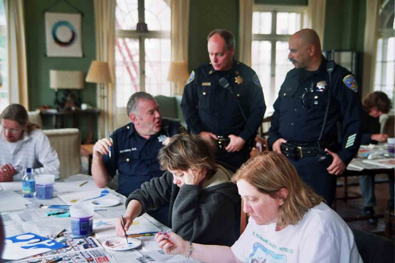 Northern Station Police Officers Painting Peace Tiles