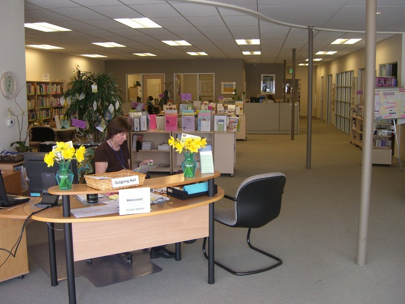 Helpline volunteer at the front of our center