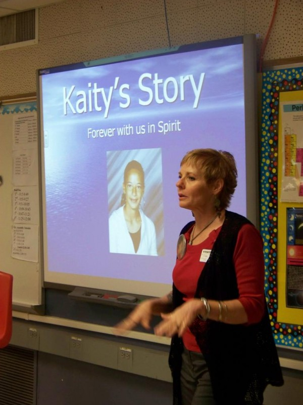 Bobbi Sudberry sharing Kaity's Story with the students of Ajo High School
