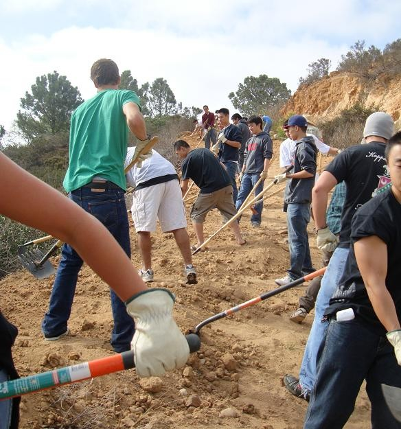 San Diego volunteers create a new trail.