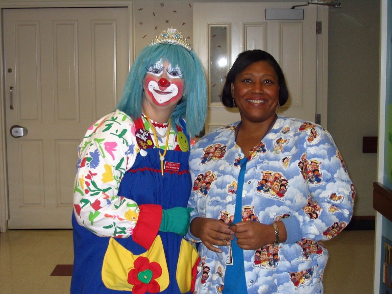 clowns visit staff and patients