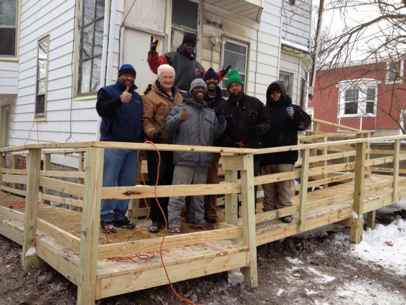 A wheelchair ramp that was built by students to help a Detroit family.