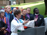 The Rev. Rebecca Voelkel of the Institute for Welcoming Resources speaks at a 2006 press conference.