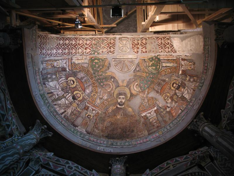 Eastern apse showing a complex palimpsest of overlying paint layers (6th-9th centuries) - Red Monast