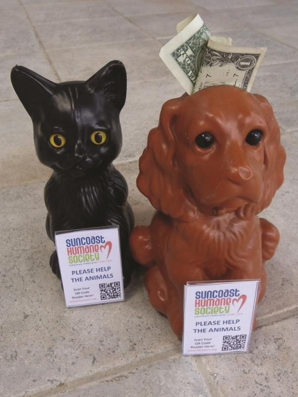 Area businesses can help us by hosting a plastic collection cat or dog in a visible location. Assigned volunteers collect these critter banks on a monthly basis and the income from the banks helps to support the mission of Suncoast Humane Society!